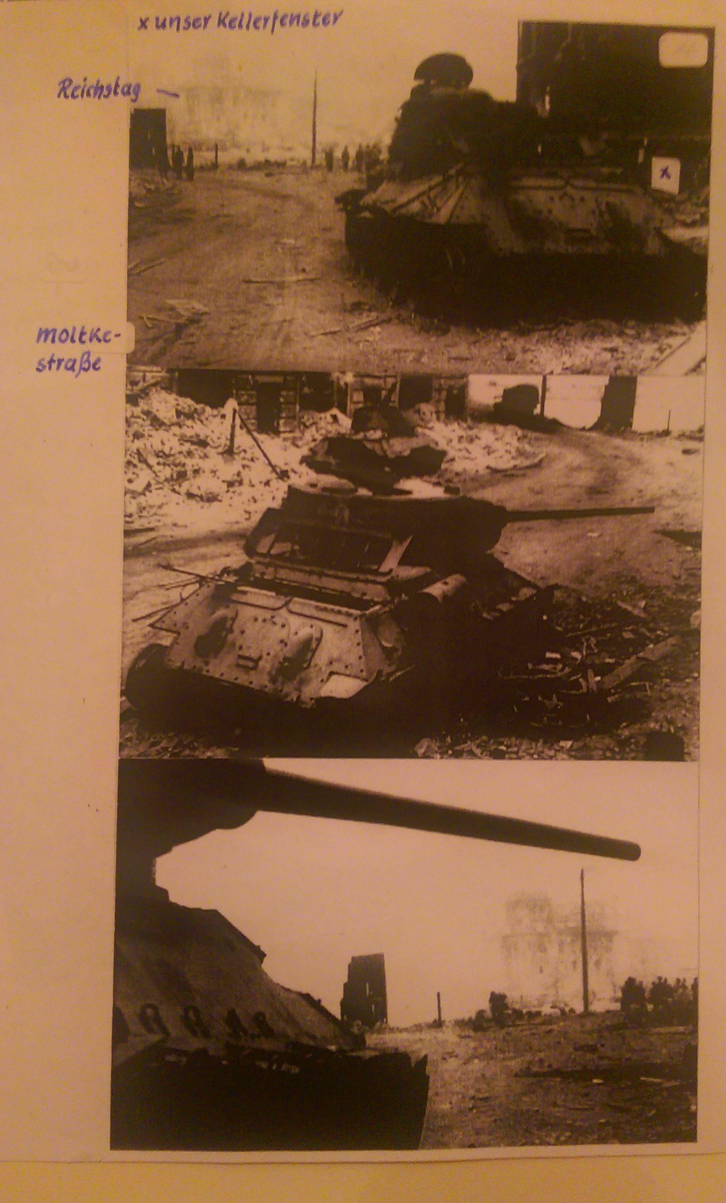 der von Ernst und seinen Kameraden abgeschossene russische Panzer